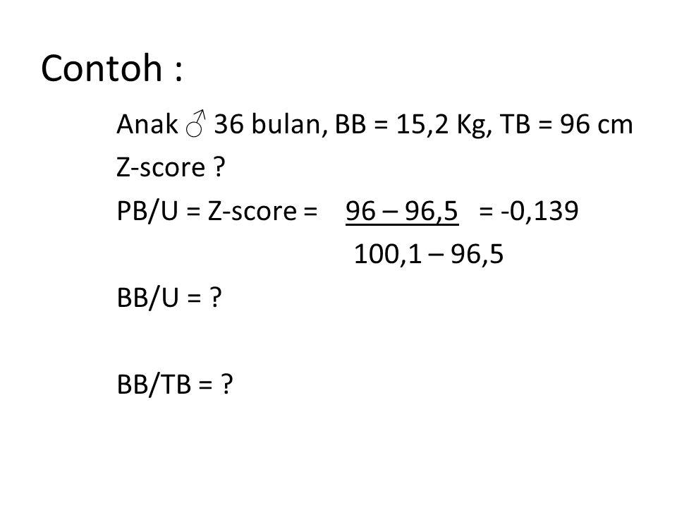 Contoh : Anak ♂ 36 bulan, BB = 15,2 Kg, TB = 96 cm Z-score .