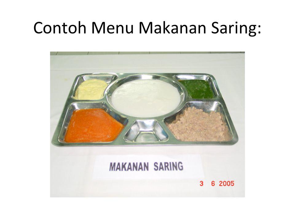 Contoh Menu Makanan Saring: