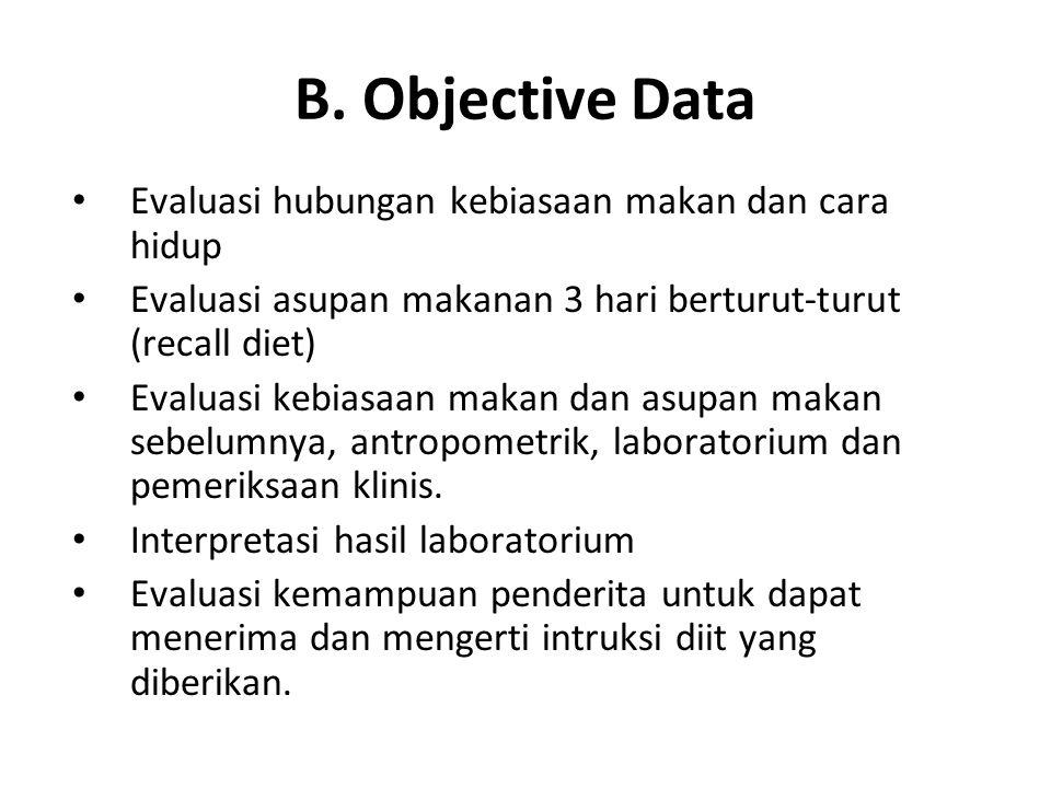 B. Objective Data Evaluasi hubungan kebiasaan makan dan cara hidup Evaluasi asupan makanan 3 hari berturut-turut (recall diet) Evaluasi kebiasaan maka