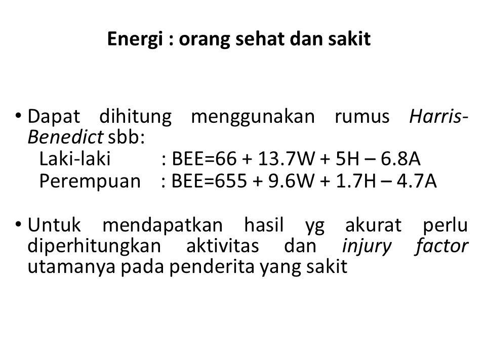 Energi : orang sehat dan sakit Dapat dihitung menggunakan rumus Harris- Benedict sbb: Laki-laki : BEE=66 + 13.7W + 5H – 6.8A Perempuan : BEE=655 + 9.6W + 1.7H – 4.7A Untuk mendapatkan hasil yg akurat perlu diperhitungkan aktivitas dan injury factor utamanya pada penderita yang sakit