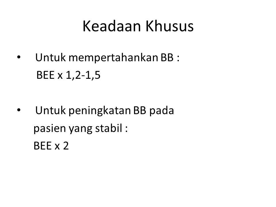 Keadaan Khusus Untuk mempertahankan BB : BEE x 1,2-1,5 Untuk peningkatan BB pada pasien yang stabil : BEE x 2