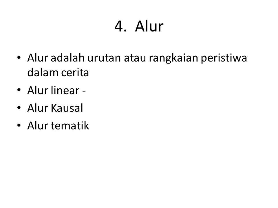 4. Alur Alur adalah urutan atau rangkaian peristiwa dalam cerita Alur linear - Alur Kausal Alur tematik