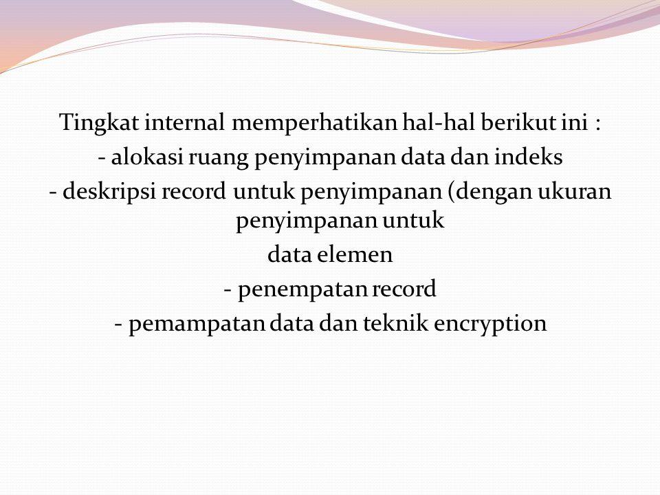 Tingkat internal memperhatikan hal-hal berikut ini : - alokasi ruang penyimpanan data dan indeks - deskripsi record untuk penyimpanan (dengan ukuran p