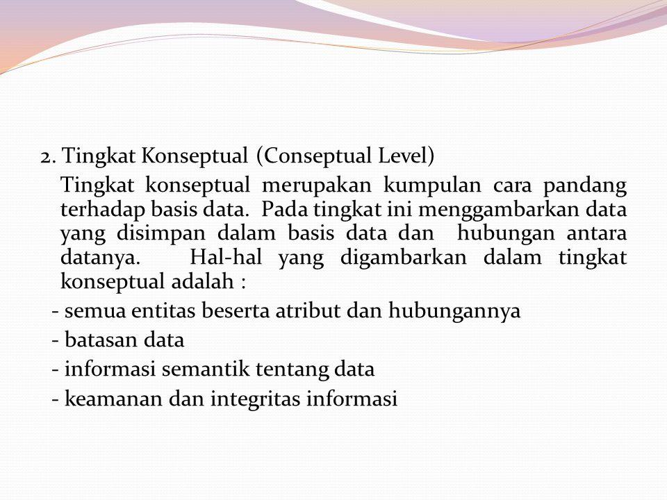 2. Tingkat Konseptual (Conseptual Level) Tingkat konseptual merupakan kumpulan cara pandang terhadap basis data. Pada tingkat ini menggambarkan data y