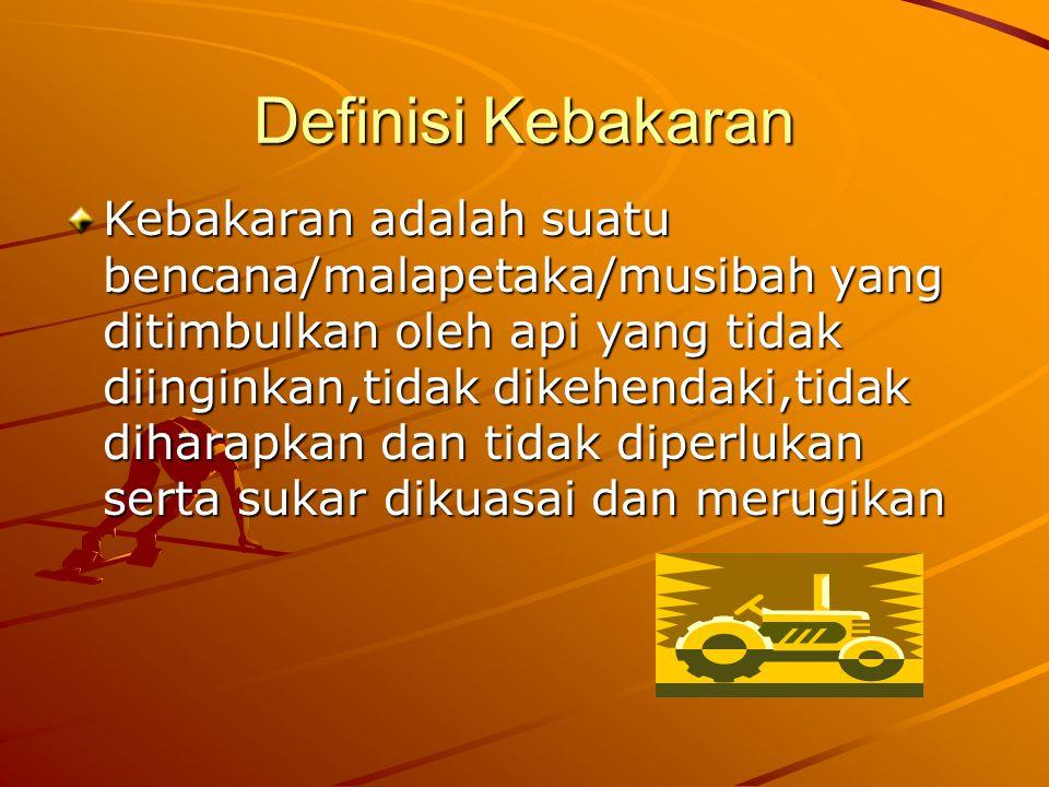 Definisi Kebakaran Kebakaran adalah suatu bencana/malapetaka/musibah yang ditimbulkan oleh api yang tidak diinginkan,tidak dikehendaki,tidak diharapka