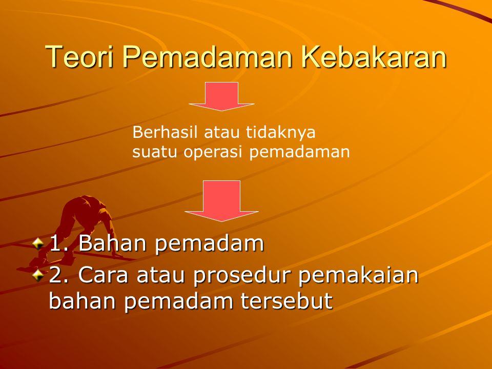 Teori Pemadaman Kebakaran 1. Bahan pemadam 2. Cara atau prosedur pemakaian bahan pemadam tersebut Berhasil atau tidaknya suatu operasi pemadaman