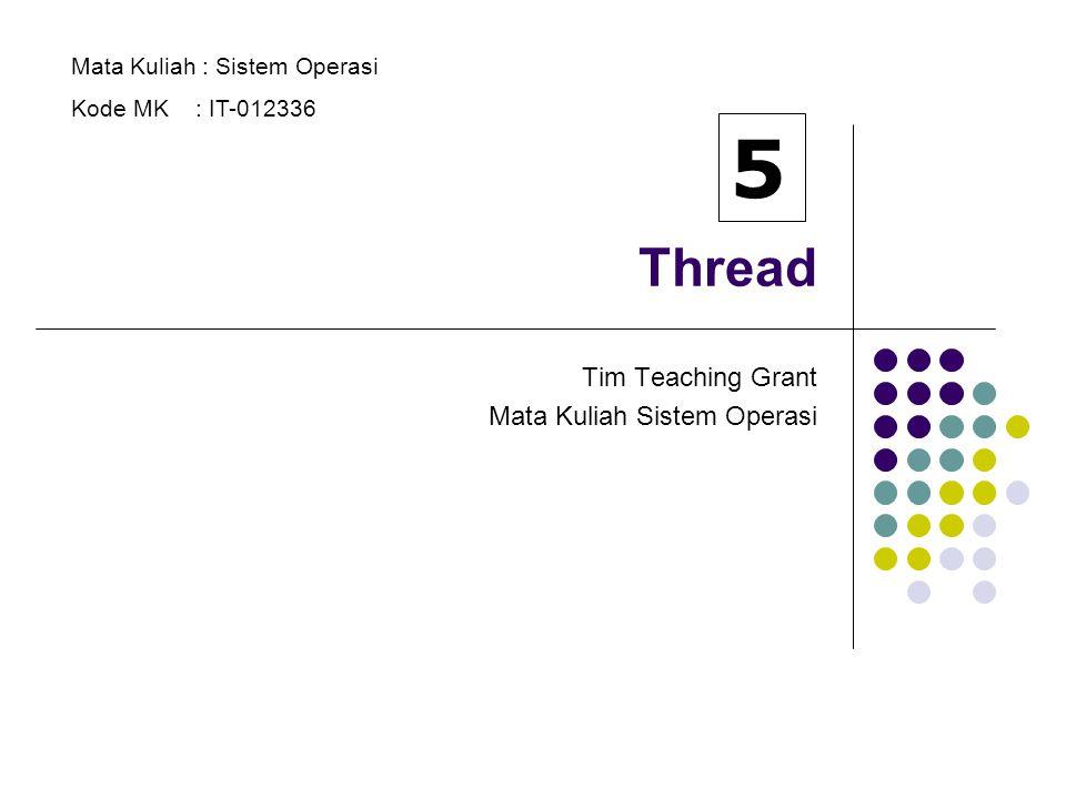 2 Thread Program yang dieksekusi : Proses berat (heavyweight) => proses tradisional Proses ringan (lightweight) => THREAD Thread terdiri dari ID thread, program counter, himpunan register dan stack.