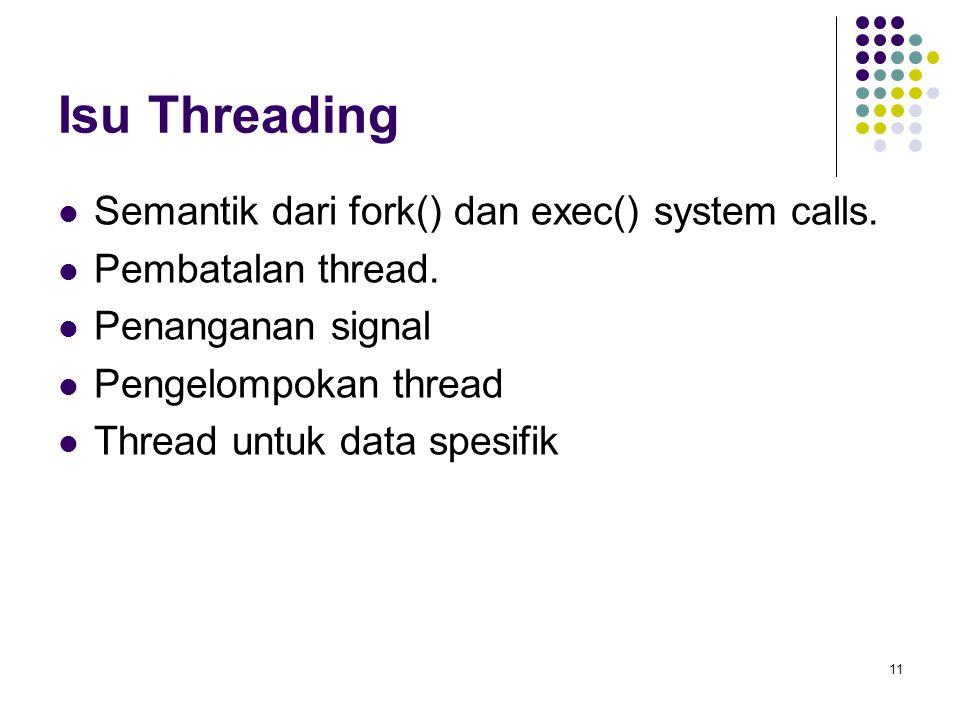 11 Isu Threading Semantik dari fork() dan exec() system calls. Pembatalan thread. Penanganan signal Pengelompokan thread Thread untuk data spesifik