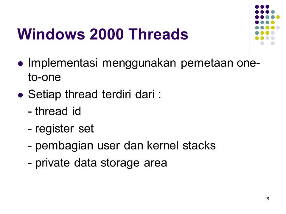 15 Windows 2000 Threads Implementasi menggunakan pemetaan one- to-one Setiap thread terdiri dari : - thread id - register set - pembagian user dan ker