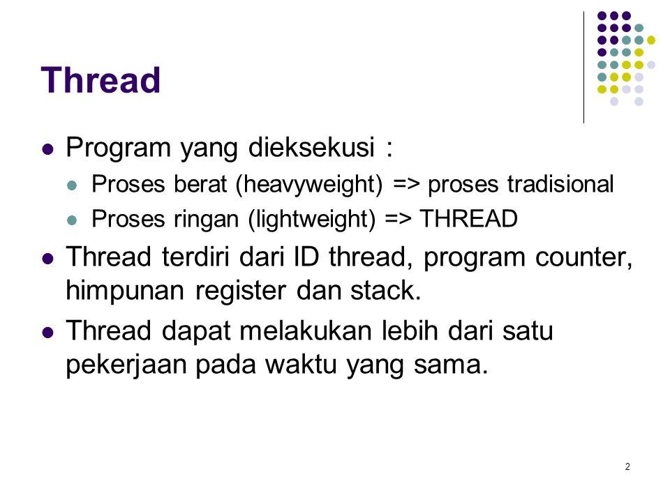 2 Thread Program yang dieksekusi : Proses berat (heavyweight) => proses tradisional Proses ringan (lightweight) => THREAD Thread terdiri dari ID threa