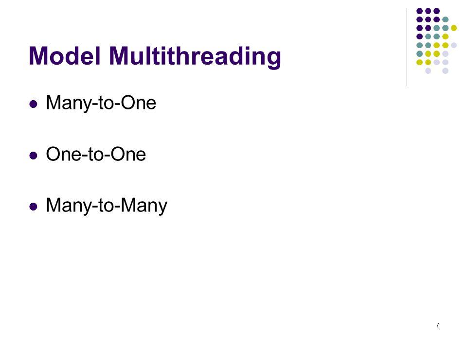 8 Many-to-One Beberapa thread user-lever dipetakan ke dalam single kernel thread Penggunaannya pada sistem tidak memerlukan dukungan kernel thread
