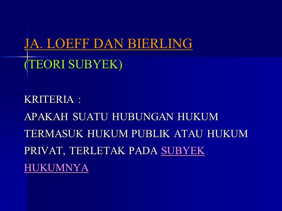 JA. LOEFF DAN BIERLING (TEORI SUBYEK) KRITERIA : APAKAH SUATU HUBUNGAN HUKUM TERMASUK HUKUM PUBLIK ATAU HUKUM PRIVAT, TERLETAK PADA SUBYEK HUKUMNYA