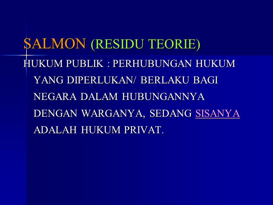 SALMON (RESIDU TEORIE) HUKUM PUBLIK : PERHUBUNGAN HUKUM YANG DIPERLUKAN/ BERLAKU BAGI NEGARA DALAM HUBUNGANNYA DENGAN WARGANYA, SEDANG SISANYA ADALAH HUKUM PRIVAT.