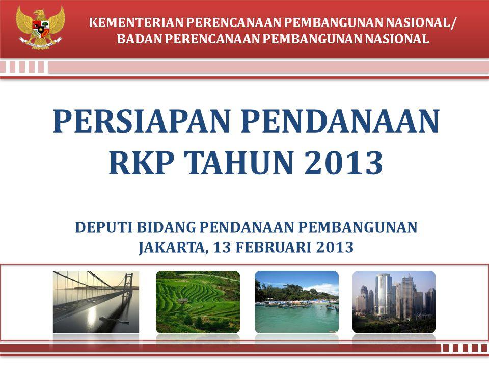 BAPPENAS KERANGKA PAPARAN PENGANTAR : PERKUATAN PENDANAAN RKP 2013 TEMA PEMBANGUNAN TAHUN 2013 PAGU BASELINE RPJMN INISIATIF BARU KEBIJAKAN PHLN 2013 PENDANAAN SESUAI KEWENANGAN 2