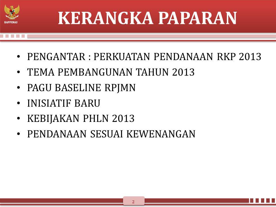 BAPPENAS PENGANTAR : PERKUATAN PENDANAAN RKP 2013 1.Mempertajam alokasi pada prioritas (allocative efficiency): isu strategis pada tiap prioritas pembangunan.
