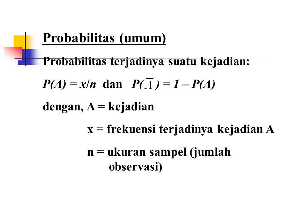 Probabilitas (umum) Probabilitas terjadinya suatu kejadian: P(A) = x/n dan P( ) = 1 – P(A) dengan, A = kejadian x = frekuensi terjadinya kejadian A n = ukuran sampel (jumlah observasi)