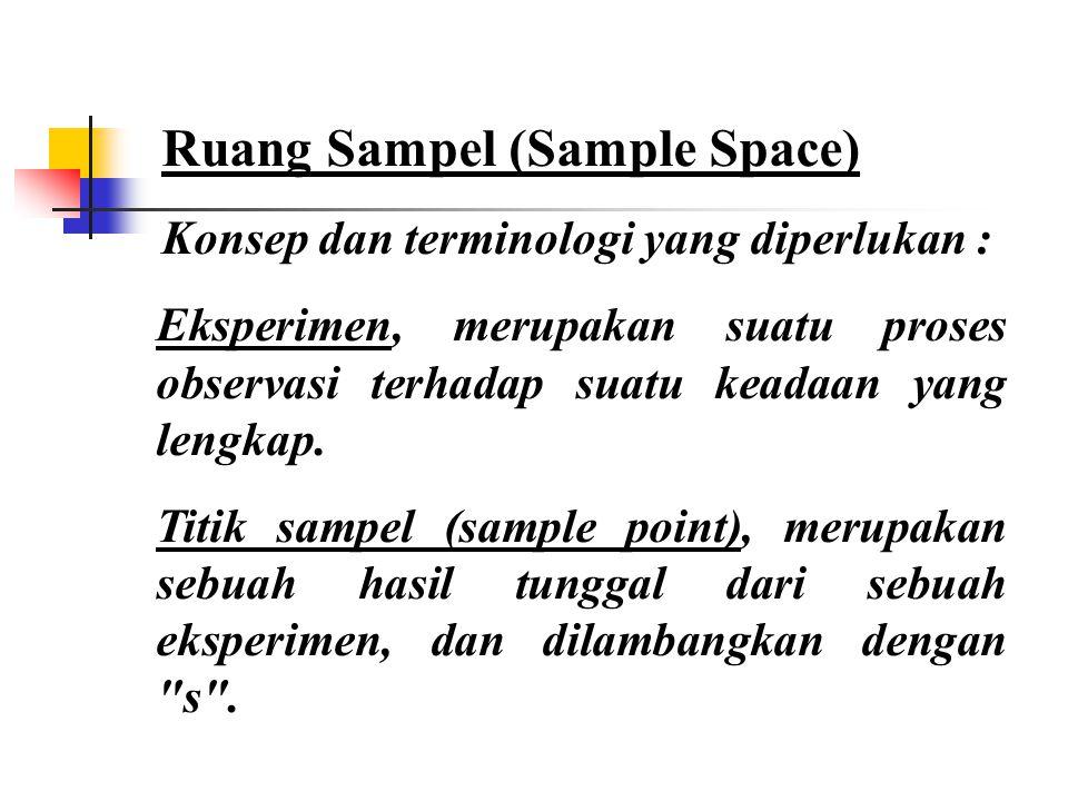 Ruang Sampel (Sample Space) Konsep dan terminologi yang diperlukan : Eksperimen, merupakan suatu proses observasi terhadap suatu keadaan yang lengkap.