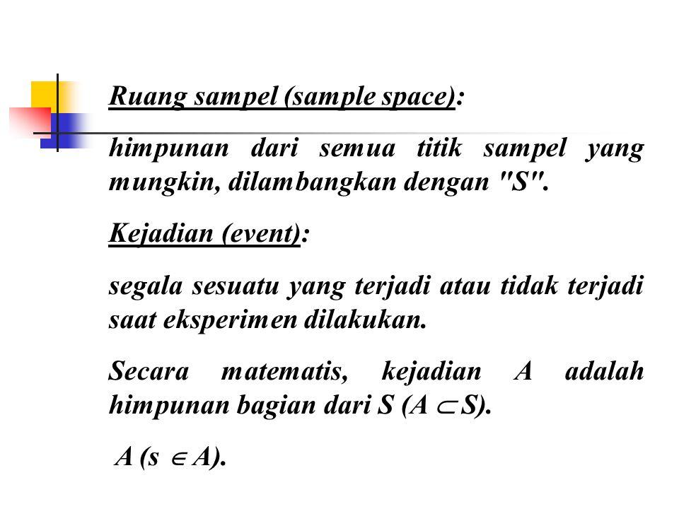 Ruang sampel (sample space): himpunan dari semua titik sampel yang mungkin, dilambangkan dengan S .