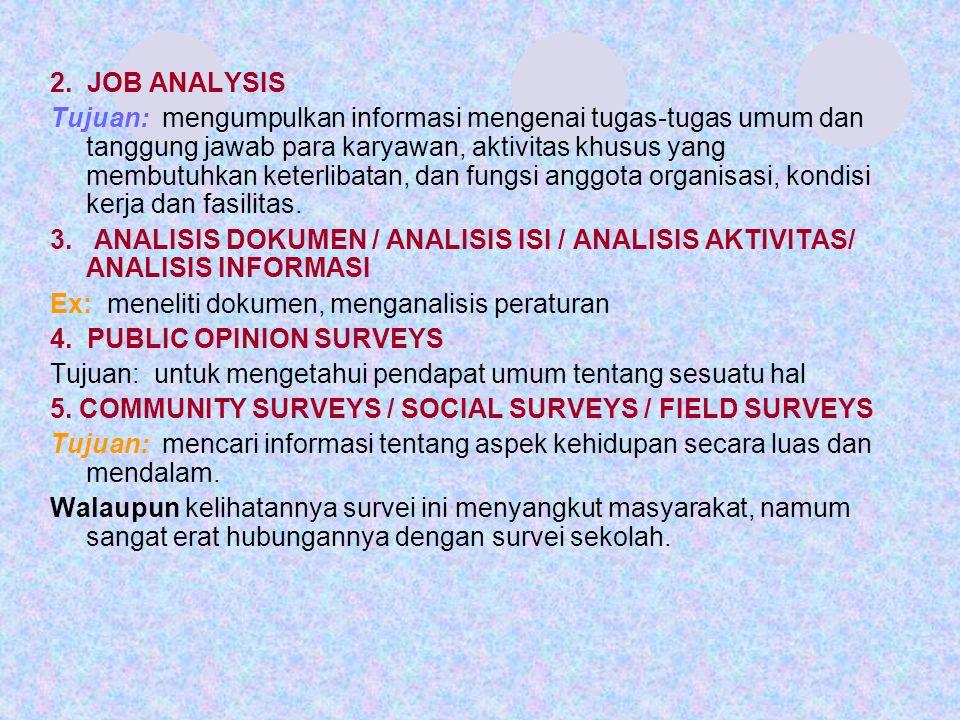 2. JOB ANALYSIS Tujuan: mengumpulkan informasi mengenai tugas-tugas umum dan tanggung jawab para karyawan, aktivitas khusus yang membutuhkan keterliba