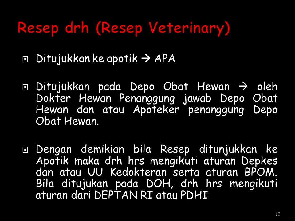  Ditujukkan ke apotik  APA  Ditujukkan pada Depo Obat Hewan  oleh Dokter Hewan Penanggung jawab Depo Obat Hewan dan atau Apoteker penanggung Depo