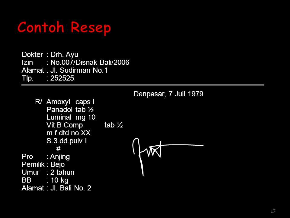 Dokter: Drh. Ayu Izin: No.007/Disnak-Bali/2006 Alamat: Jl. Sudirman No.1 Tlp.: 252525 Denpasar, 7 Juli 1979 R/Amoxylcaps I Panadoltab ½ Luminalmg 10 V