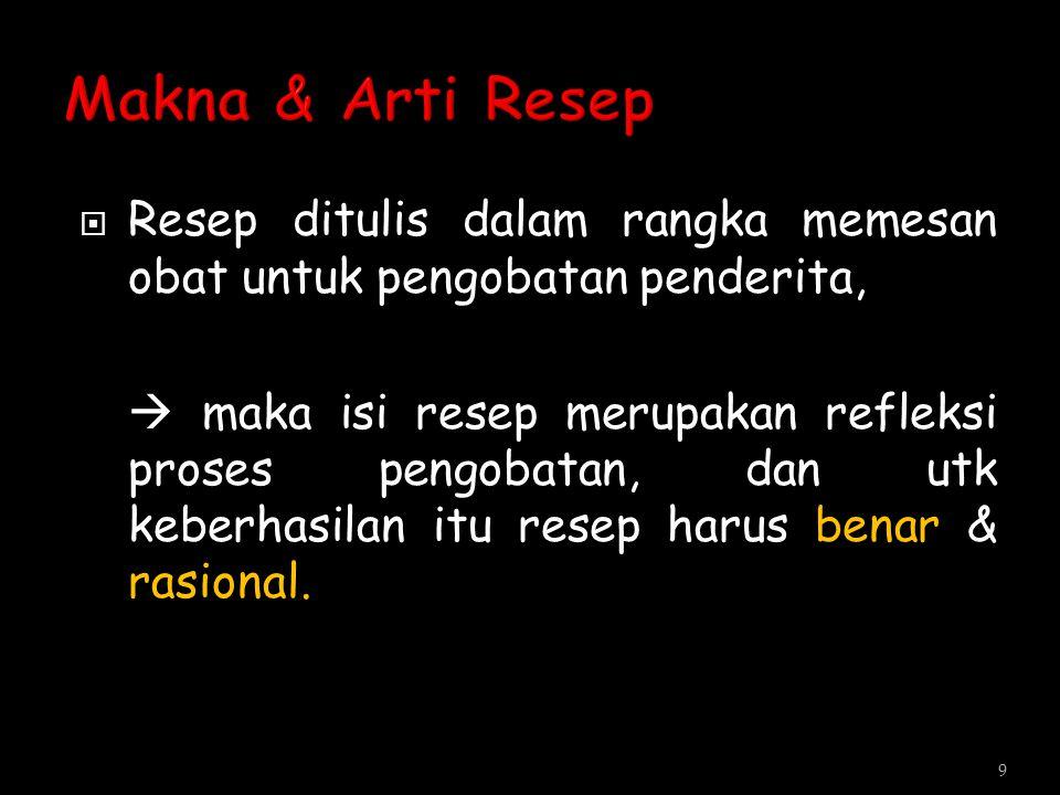  Paraf digunakan setiap mengakhiri penulisan resep  Tanda tangan mutlak dipakai pada Penulisan resep yang mencantumkan obat golongan narkotika (Menurut aturan DEPKES) 30
