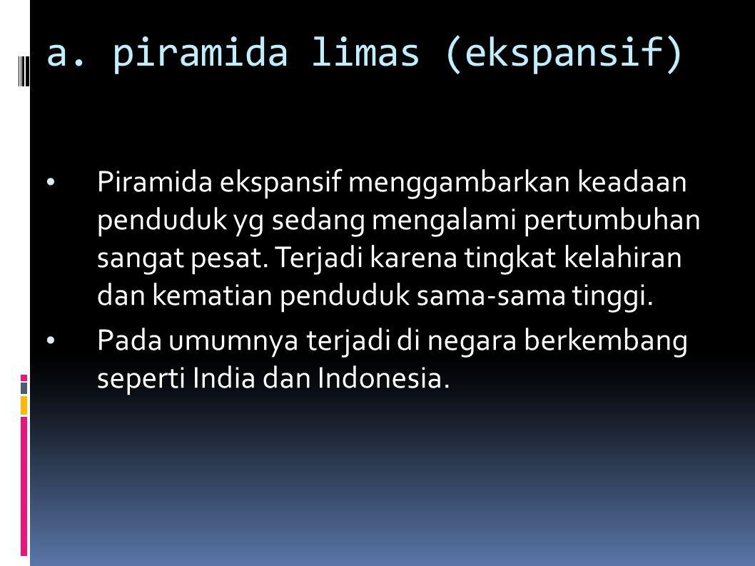 a. piramida limas (ekspansif) Piramida ekspansif menggambarkan keadaan penduduk yg sedang mengalami pertumbuhan sangat pesat. Terjadi karena tingkat k
