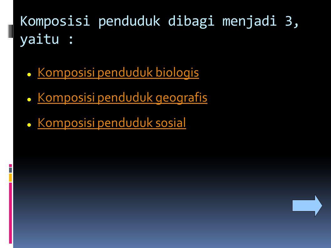 Komposisi penduduk dibagi menjadi 3, yaitu : Komposisi penduduk biologis Komposisi penduduk geografis Komposisi penduduk sosial