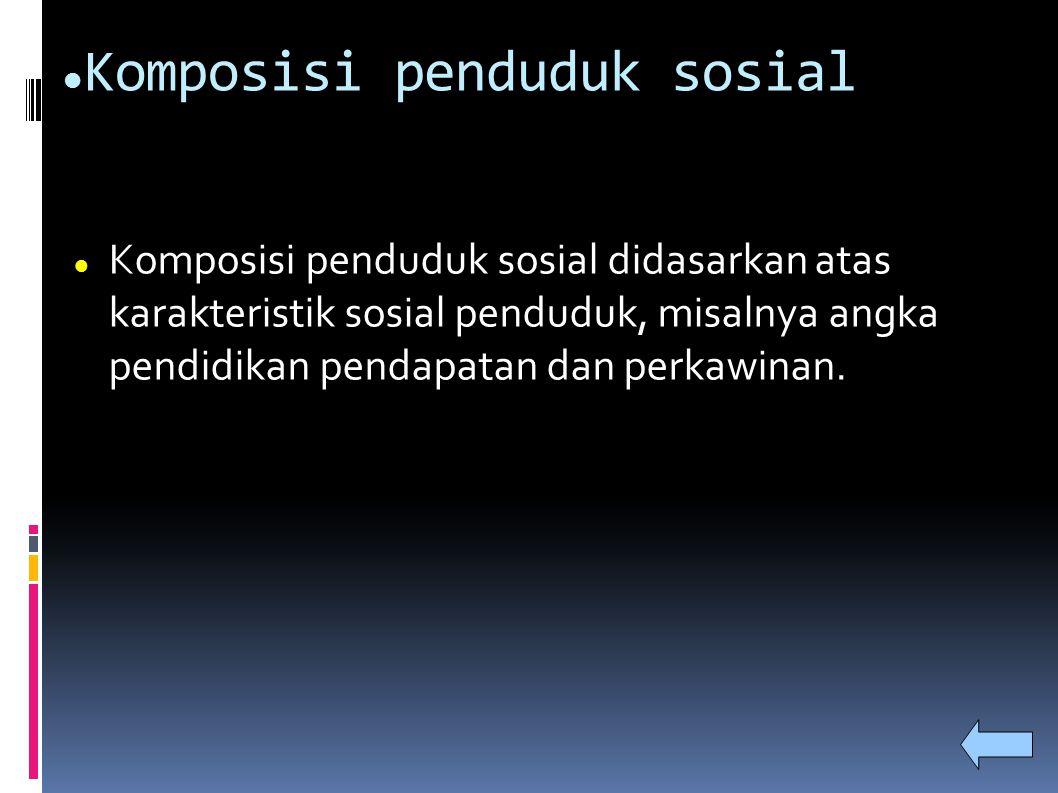 Komposisi penduduk sosial Komposisi penduduk sosial didasarkan atas karakteristik sosial penduduk, misalnya angka pendidikan pendapatan dan perkawinan