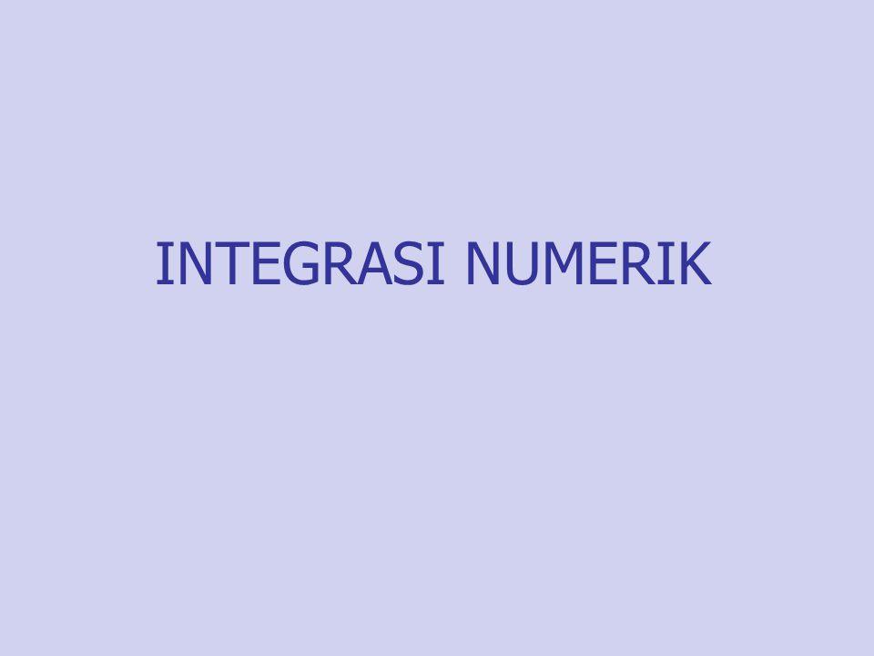 Pengantar Pengintegralan numerik merupakan alat atau cara yang digunakan oleh ilmuwan untuk memperoleh jawaban hampiran (aproksimasi) dari pengintegralan yang tidak dapat diselesaikan secara analitik.
