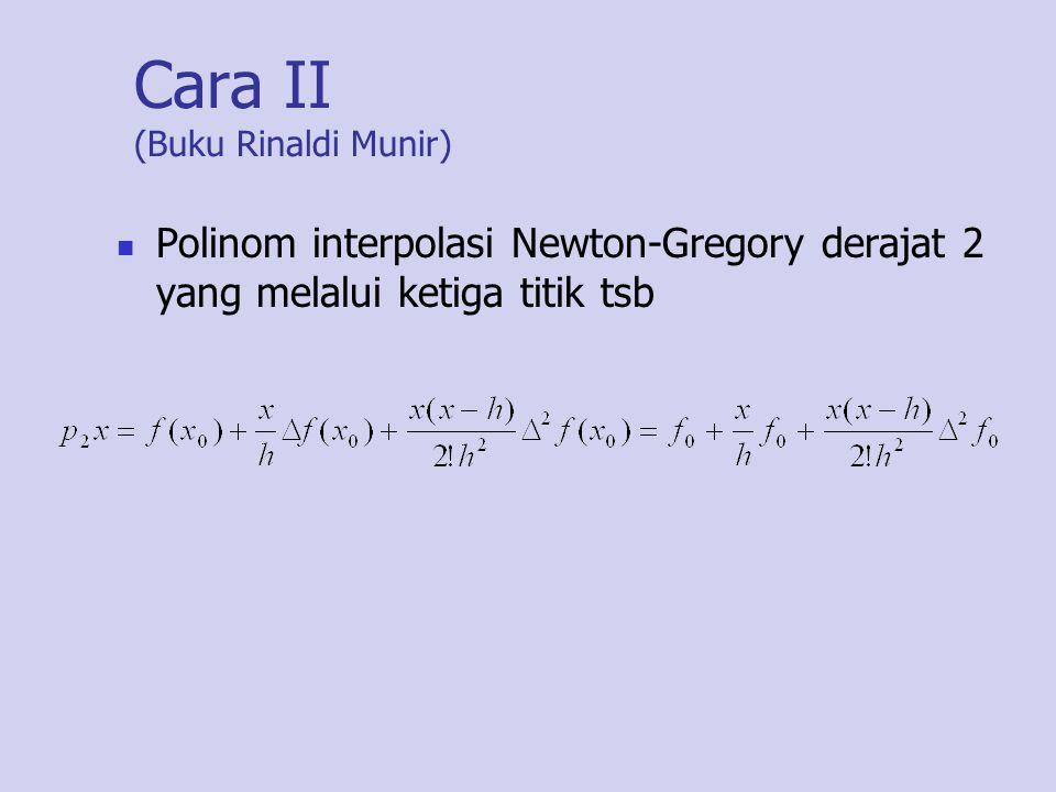 Cara II (Buku Rinaldi Munir) Polinom interpolasi Newton-Gregory derajat 2 yang melalui ketiga titik tsb