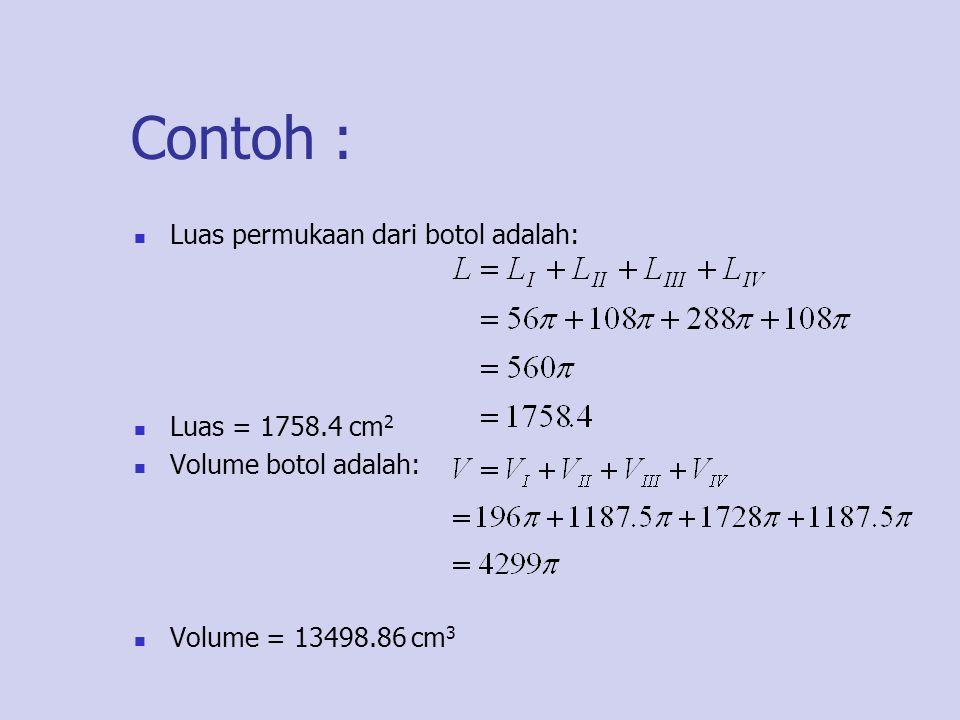 Contoh : Luas permukaan dari botol adalah: Luas = 1758.4 cm 2 Volume botol adalah: Volume = 13498.86 cm 3