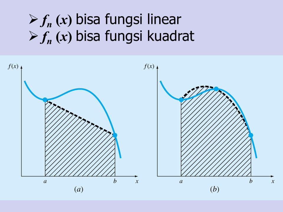 Analisa Dibandingkan dengan metode Newton-Cotes (Trapezoida, Simpson 1/3, 3/8) metode Gauss- Legendre 2 titik lebih sederhana dan efisien dalam operasi aritmatika, karena hanya membutuhkan dua buah evaluasi fungsi.