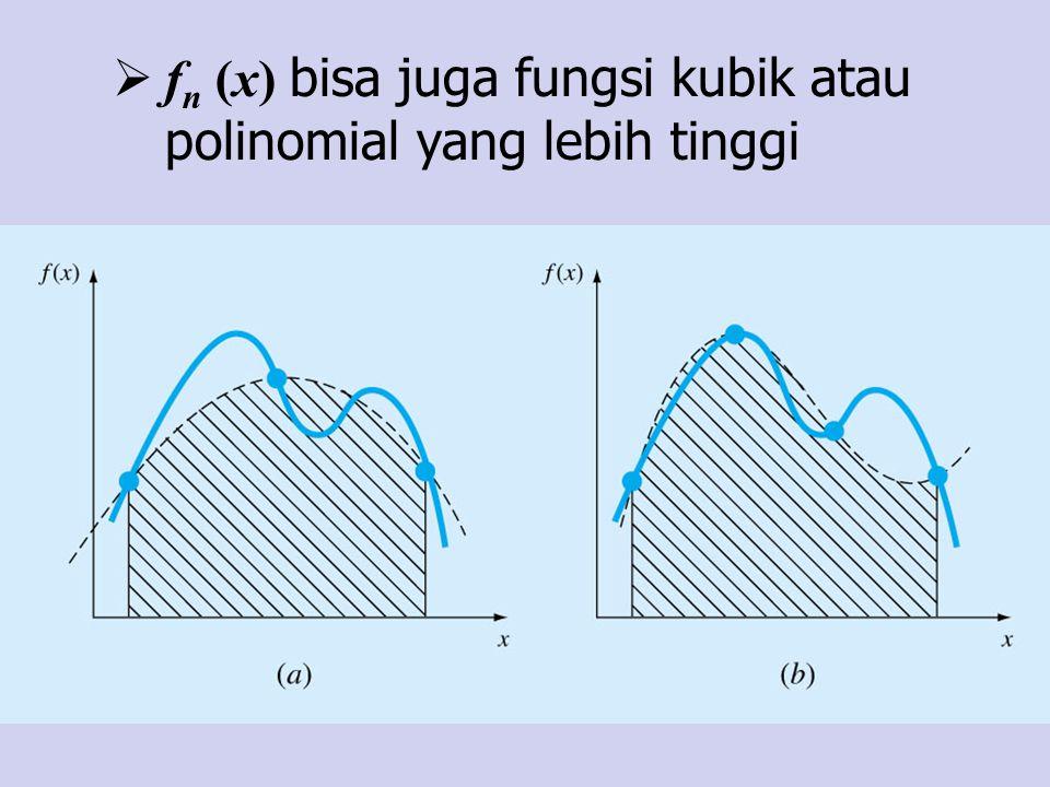 » x=0:0.04:4; y=example2(x); » x1=0:4:4; y1=example2(x1); » x2=0:2:4; y2=example2(x2); » x3=0:1:4; y3=example2(x3); » x4=0:0.5:4; y4=example2(x4); » H=plot(x,y,x1,y1, g-* ,x2,y2, r-s ,x3,y3, c-o ,x4,y4, m-d ); » set(H, LineWidth ,3, MarkerSize ,12); » xlabel( x ); ylabel( y ); title( f(x) = x exp(2x) ); » I=trap( example2 ,0,4,1) I = 2.3848e+004 » I=trap( example2 ,0,4,2) I = 1.2142e+004 » I=trap( example2 ,0,4,4) I = 7.2888e+003 » I=trap( example2 ,0,4,8) I = 5.7648e+003 » I=trap( example2 ,0,4,16) I = 5.3559e+003 Aturan Komposisi Trapesium