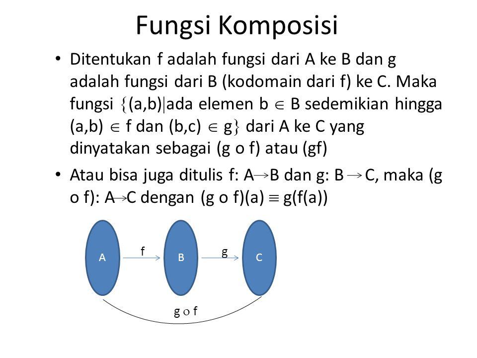 Fungsi Komposisi Ditentukan f adalah fungsi dari A ke B dan g adalah fungsi dari B (kodomain dari f) ke C. Maka fungsi  (a,b)  ada elemen b  B sede