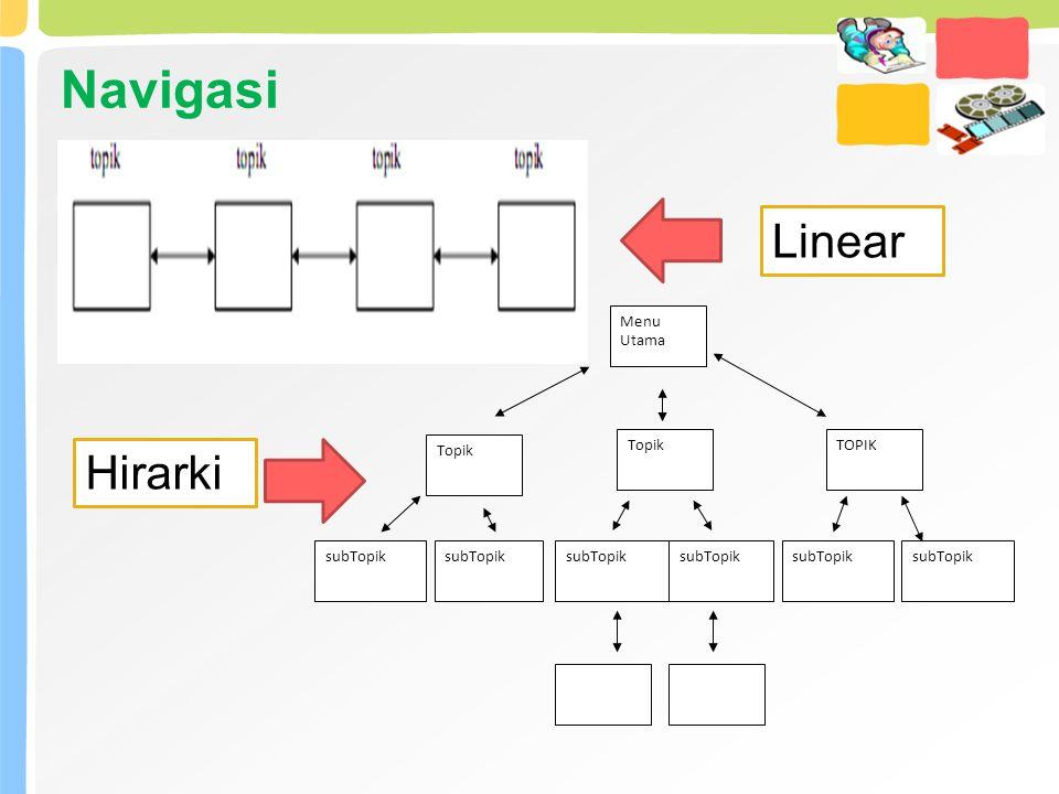 Menu Utama Topik TOPIK subTopik Navigasi Linear Hirarki