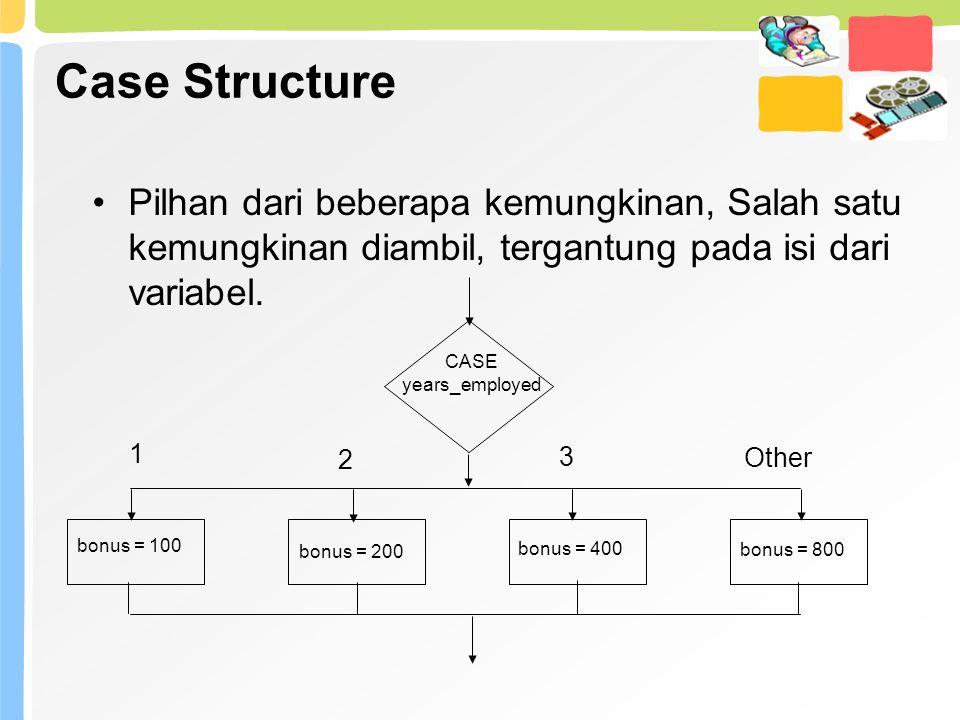 Case Structure Pilhan dari beberapa kemungkinan, Salah satu kemungkinan diambil, tergantung pada isi dari variabel. CASE years_employed 1 2 3 Other bo