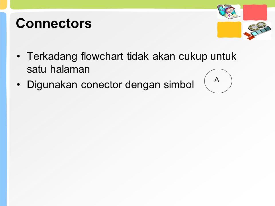 Connectors Terkadang flowchart tidak akan cukup untuk satu halaman Digunakan conector dengan simbol A