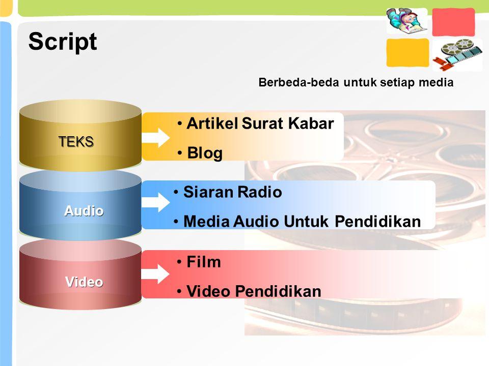 Script TEKS Artikel Surat Kabar Blog Audio Video Siaran Radio Media Audio Untuk Pendidikan Film Video Pendidikan Berbeda-beda untuk setiap media