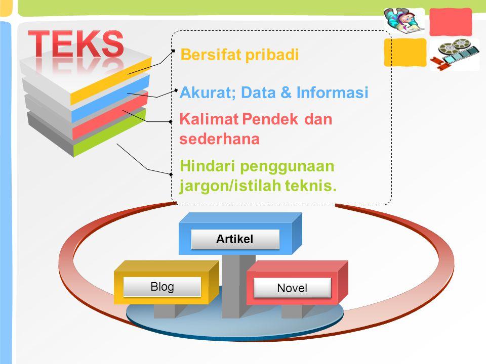 Bersifat pribadi Akurat; Data & Informasi Hindari penggunaan jargon/istilah teknis. Kalimat Pendek dan sederhana Blog Novel Artikel