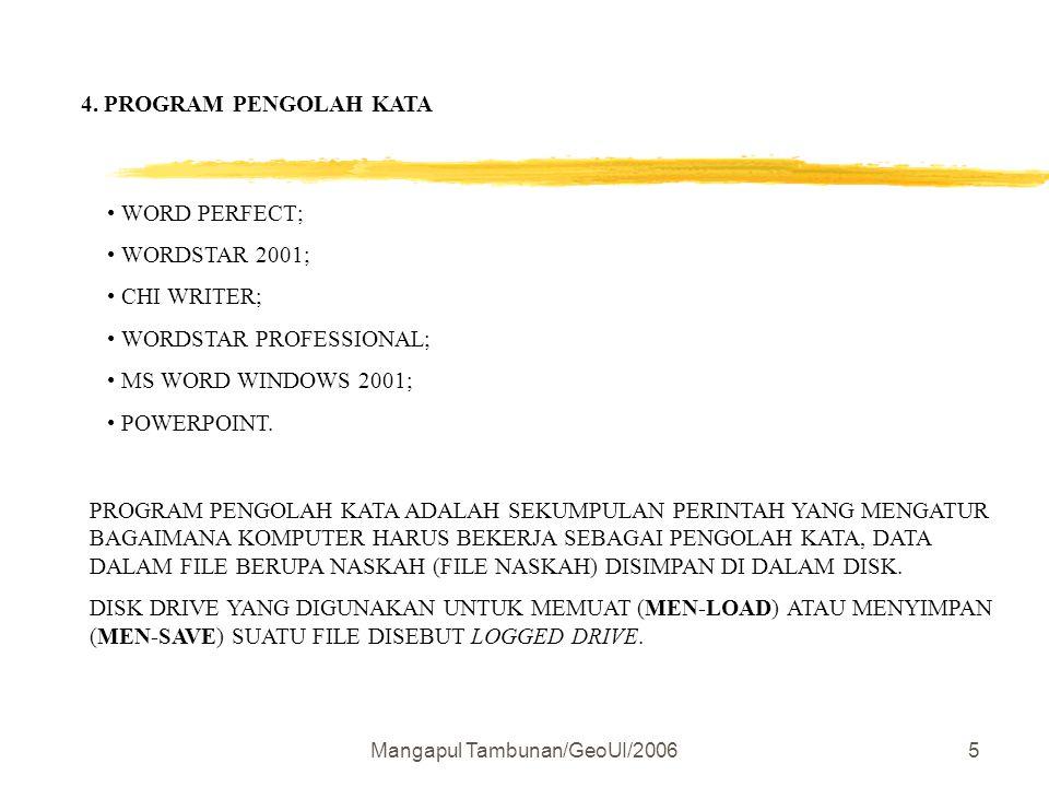 Mangapul Tambunan/GeoUI/20065 4. PROGRAM PENGOLAH KATA WORD PERFECT; WORDSTAR 2001; CHI WRITER; WORDSTAR PROFESSIONAL; MS WORD WINDOWS 2001; POWERPOIN