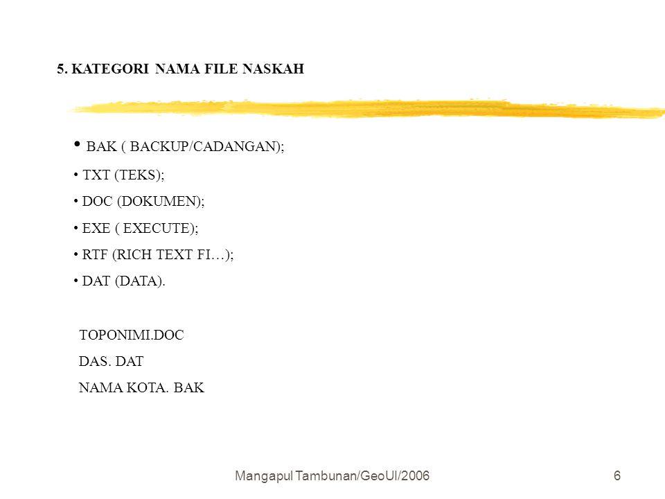 Mangapul Tambunan/GeoUI/20066 5. KATEGORI NAMA FILE NASKAH BAK ( BACKUP/CADANGAN); TXT (TEKS); DOC (DOKUMEN); EXE ( EXECUTE); RTF (RICH TEXT FI…); DAT