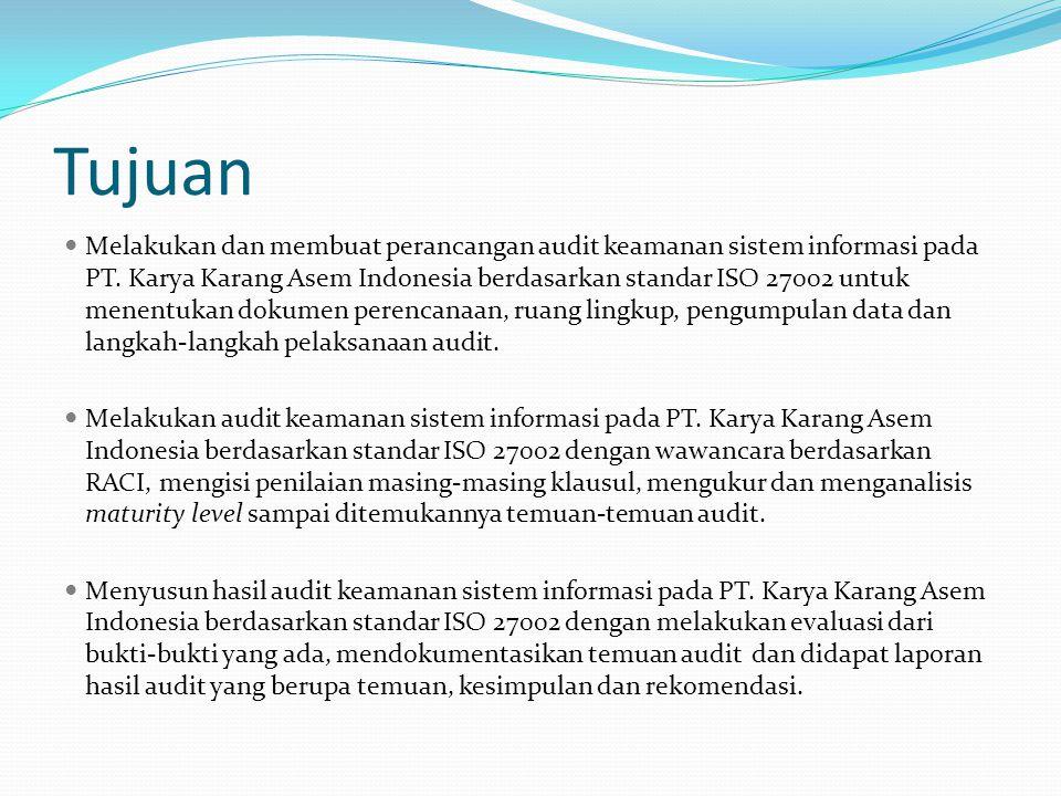 Tujuan Melakukan dan membuat perancangan audit keamanan sistem informasi pada PT. Karya Karang Asem Indonesia berdasarkan standar ISO 27002 untuk mene