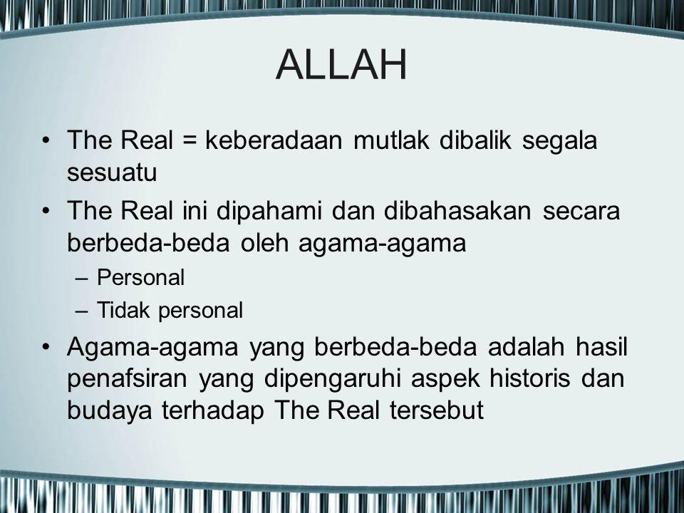 ALLAH The Real = keberadaan mutlak dibalik segala sesuatu The Real ini dipahami dan dibahasakan secara berbeda-beda oleh agama-agama –Personal –Tidak