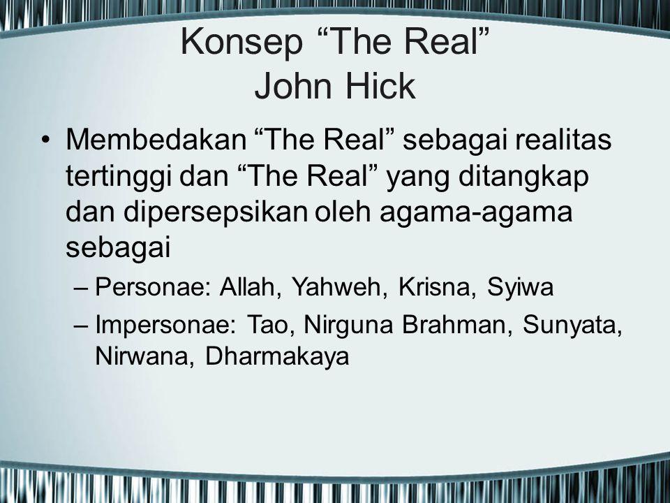 """Konsep """"The Real"""" John Hick Membedakan """"The Real"""" sebagai realitas tertinggi dan """"The Real"""" yang ditangkap dan dipersepsikan oleh agama-agama sebagai"""