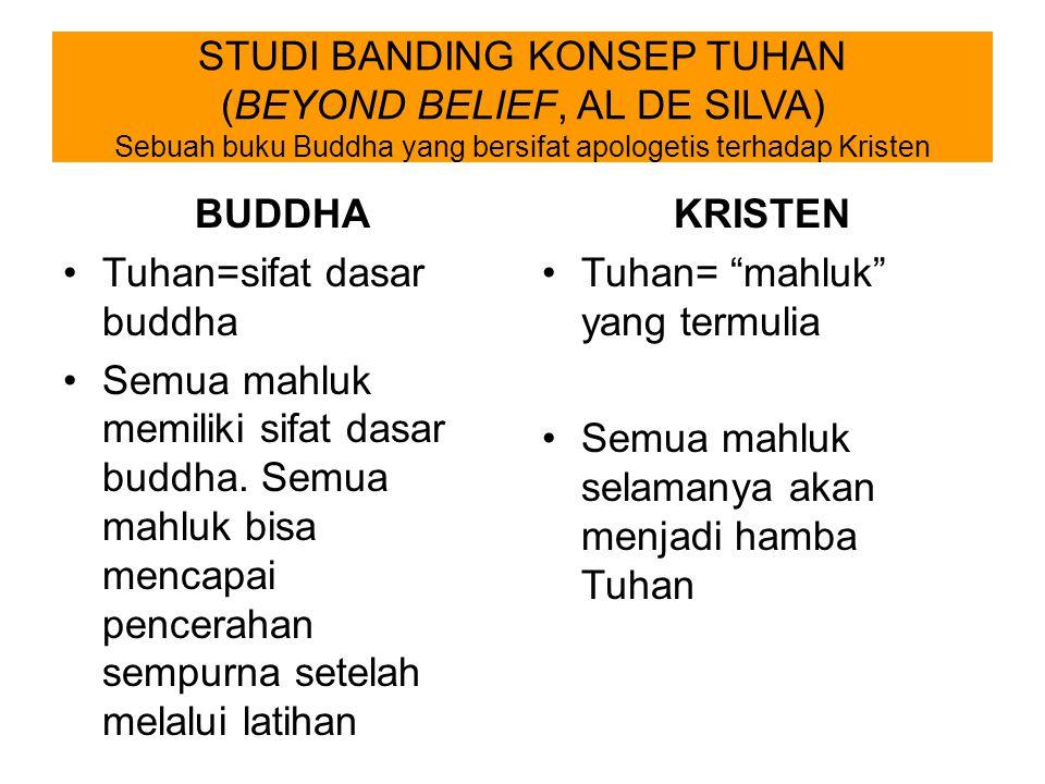 STUDI BANDING KONSEP TUHAN (BEYOND BELIEF, AL DE SILVA) Sebuah buku Buddha yang bersifat apologetis terhadap Kristen BUDDHA Tuhan=sifat dasar buddha S