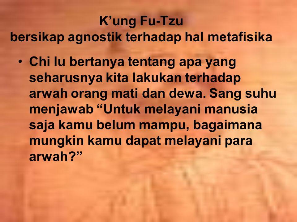K'ung Fu-Tzu bersikap agnostik terhadap hal metafisika Chi lu bertanya tentang apa yang seharusnya kita lakukan terhadap arwah orang mati dan dewa. Sa