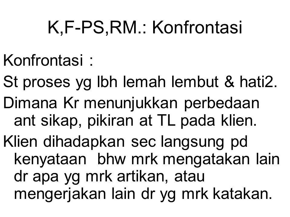 K,F-PS,RM.: Konfrontasi Konfrontasi : St proses yg lbh lemah lembut & hati2. Dimana Kr menunjukkan perbedaan ant sikap, pikiran at TL pada klien. Klie