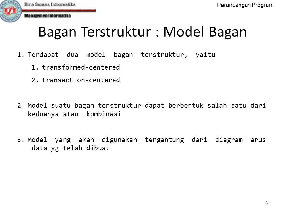 Perancangan Program Bagan Terstruktur : Model Bagan 6 1.Terdapat dua model bagan terstruktur, yaitu 1.transformed‐centered 2.transaction‐centered 2.Model suatu bagan terstruktur dapat berbentuk salah satu dari keduanya atau kombinasi 3.Model yang akan digunakan tergantung dari diagram arus data yg telah dibuat