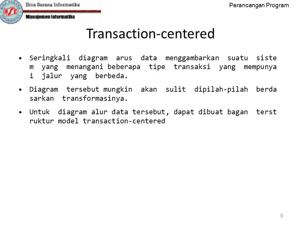 Perancangan Program Transaction‐centered 9 Seringkali diagram arus data menggambarkan suatu siste m yang menangani beberapa tipe transaksi yang mempunya i jalur yang berbeda.
